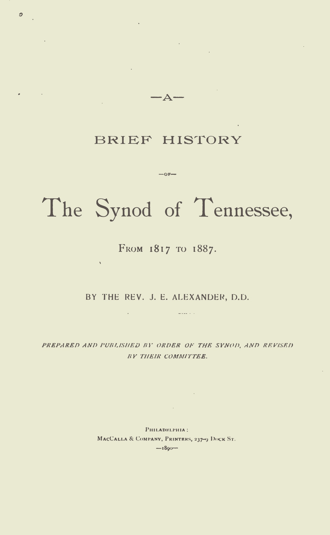 Alexander, John Edmiston, A Brief History of the Synod of Tennessee Title Page.jpg