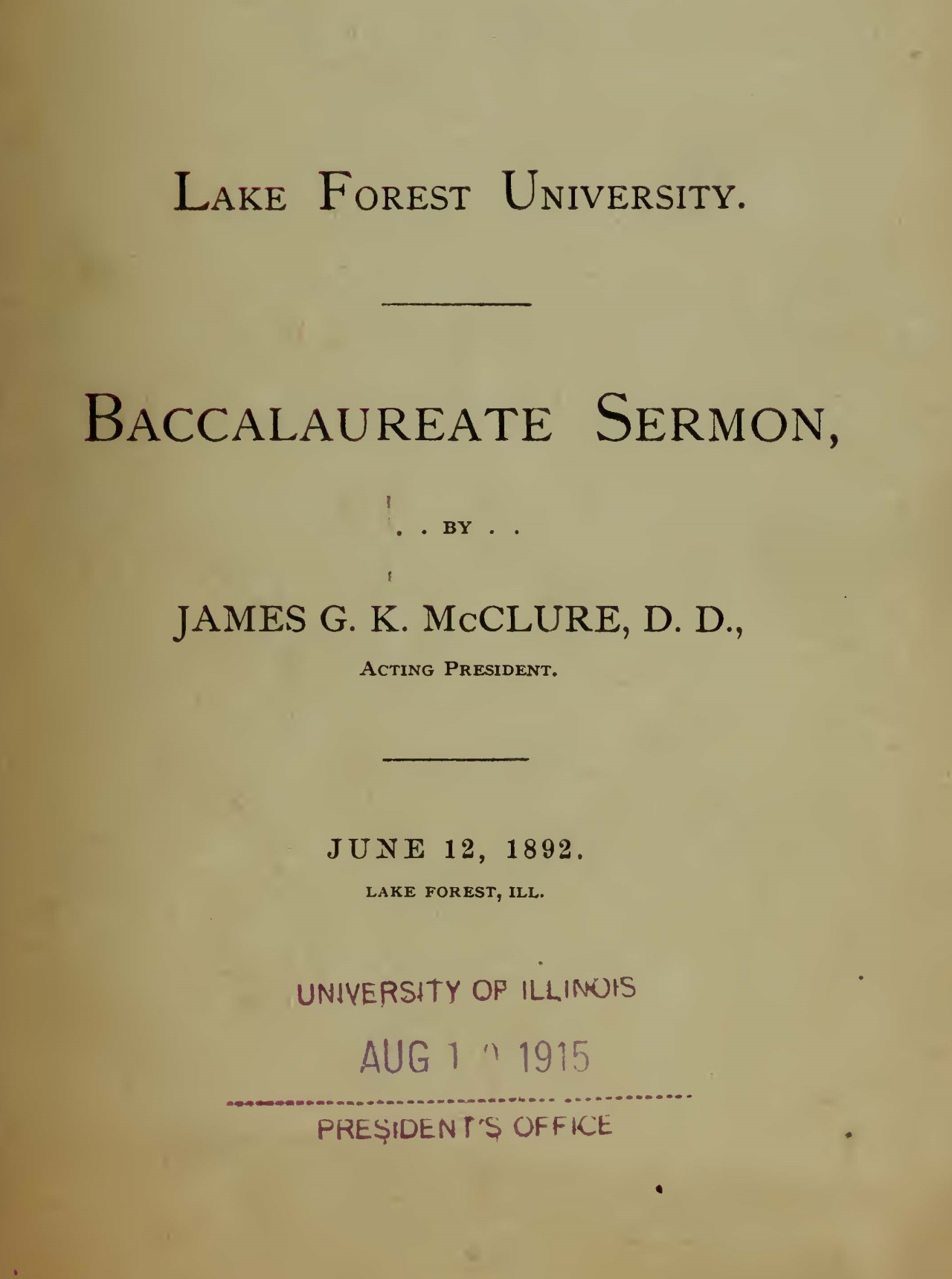 McClure, Sr., James Gore King, Baccalaureate Address 1892 Title Page.jpg