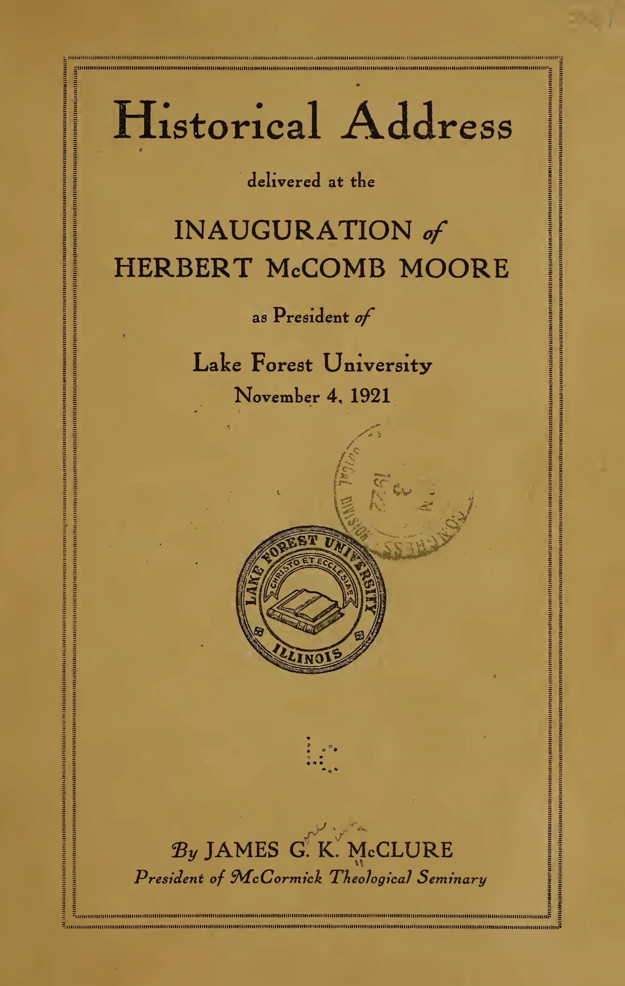 McClure, Sr., James Gore King, Historical Address Title Page.jpg