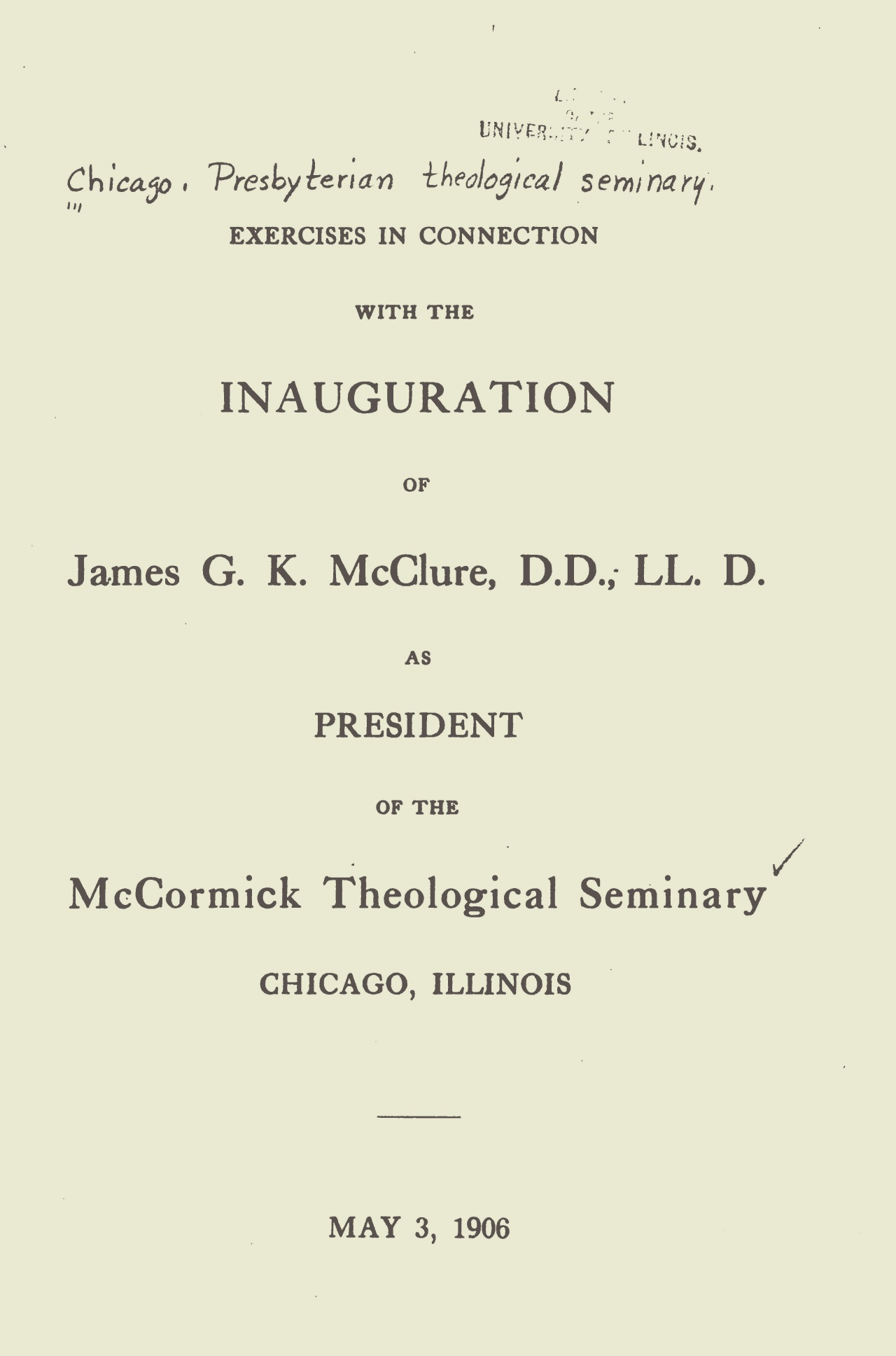 McClure, Sr., James Gore King, Exercises in Connection with the Inauguration Title Page.jpg