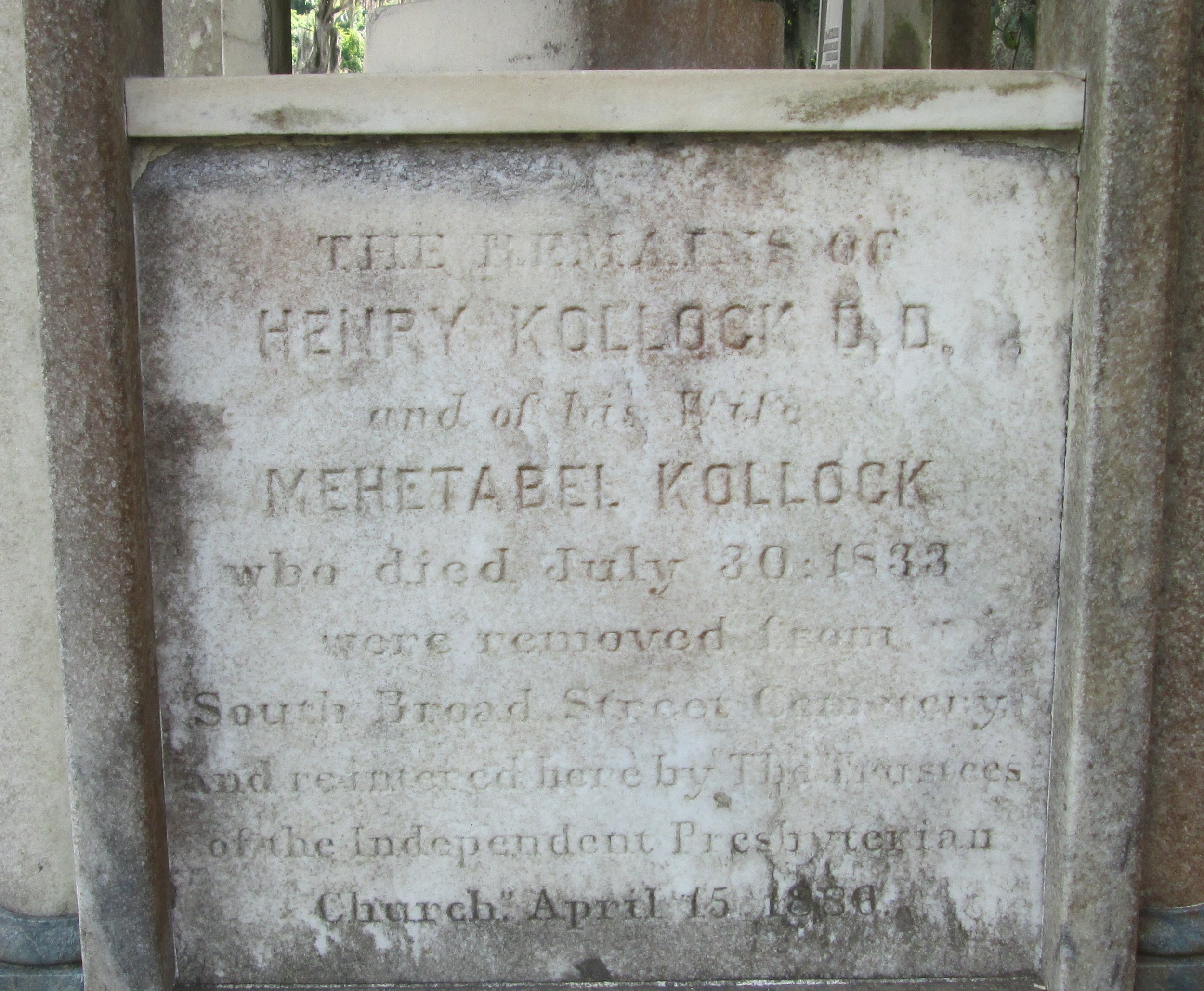 Henry Kollock and his wife Mehetabel were originally buried at the Old Savannah Cemetery, which is now known as Colonial Park. In 1866, their remains were reinterred in the Laurel Grove Cemetery, Savannah, Georgia.