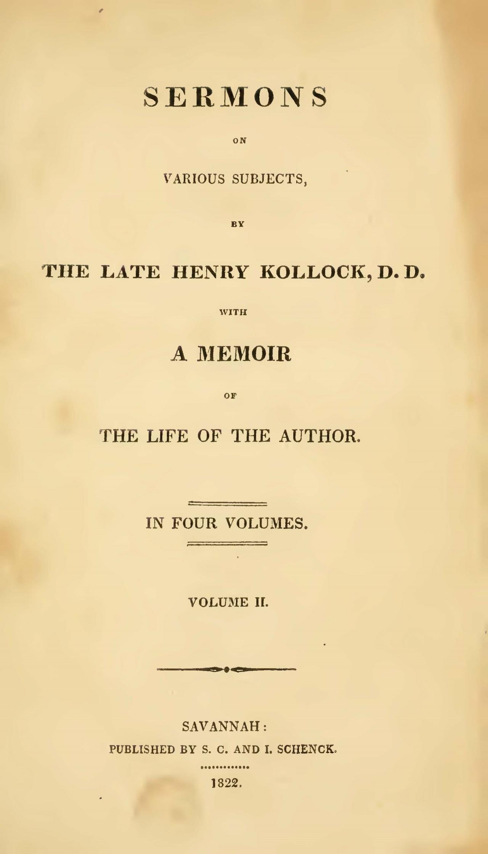 Kollock, Henry, Sermons, Vol. 2 Title Page.jpg