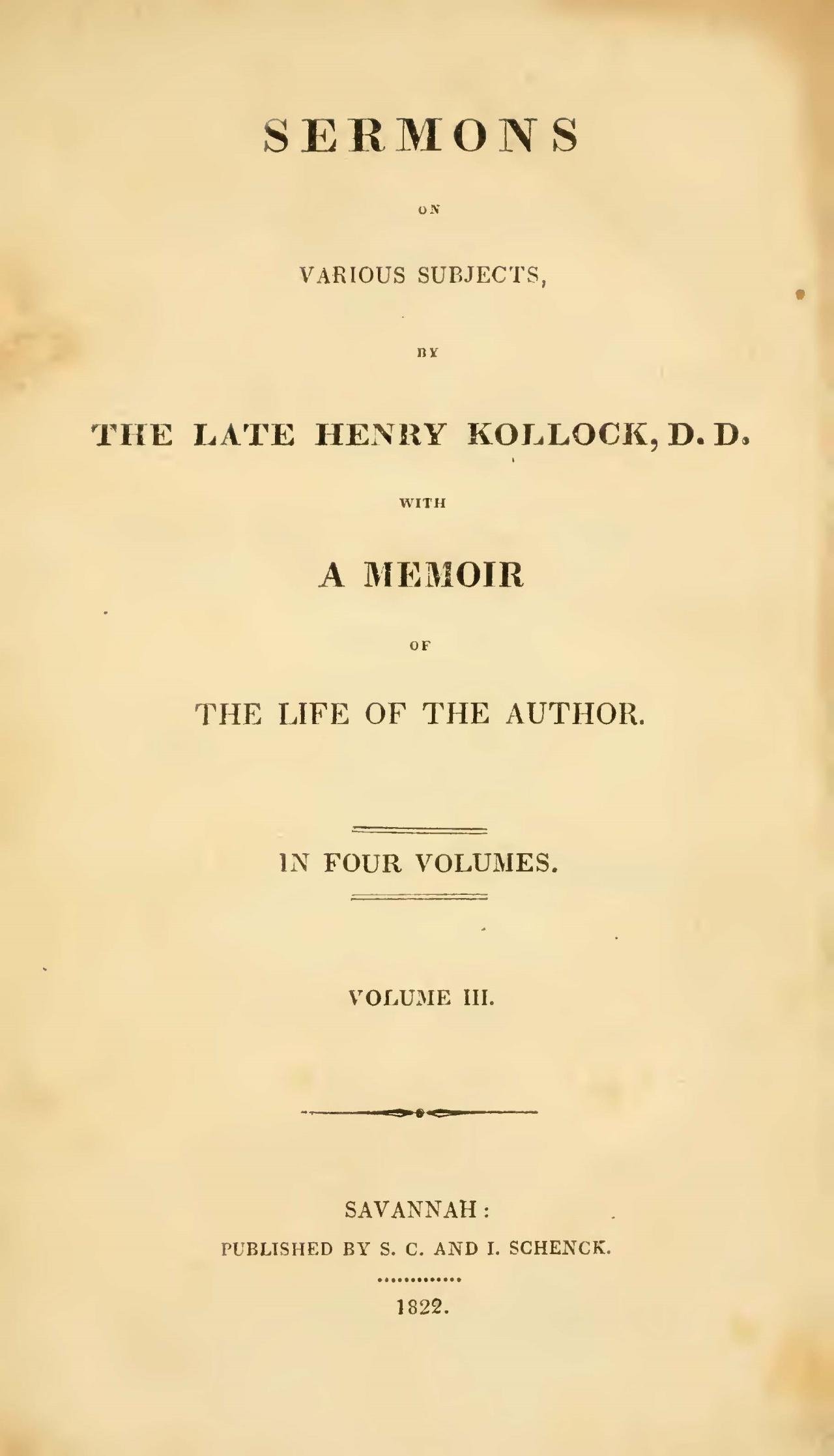Kollock, Henry, Sermons, Vol. 3 Title Page.jpg