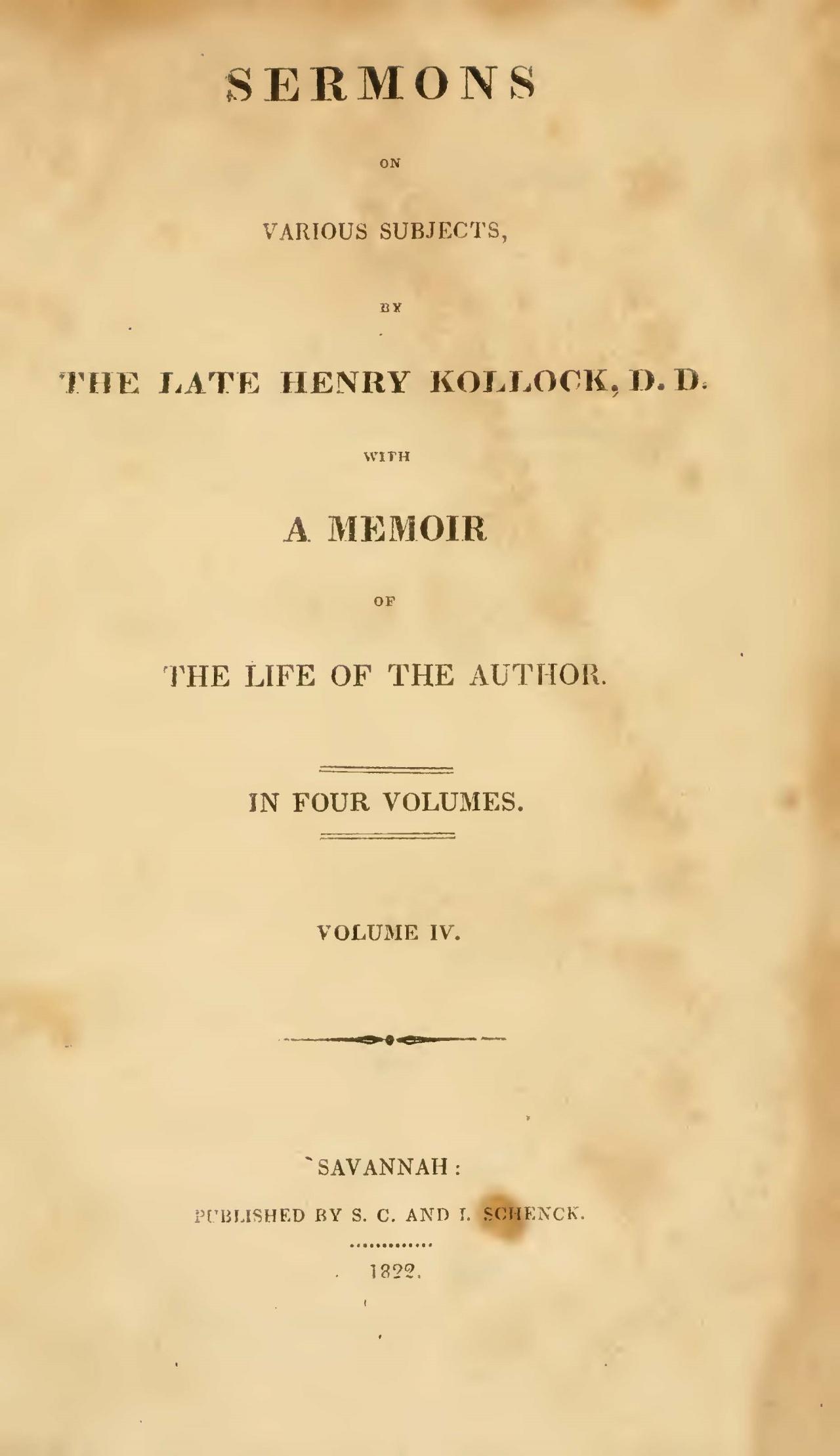 Kollock, Henry, Sermons, Vol. 4 Title Page.jpg