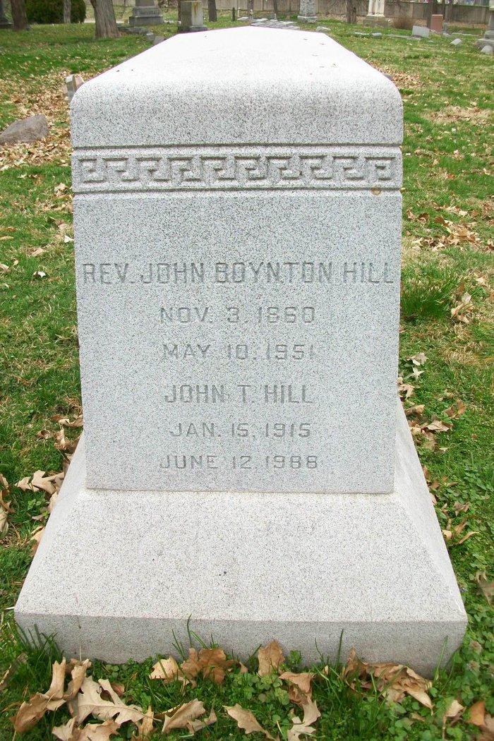 John Boynton Hill is buried at Elmwood Cemetery, Kansas City, Missouri.