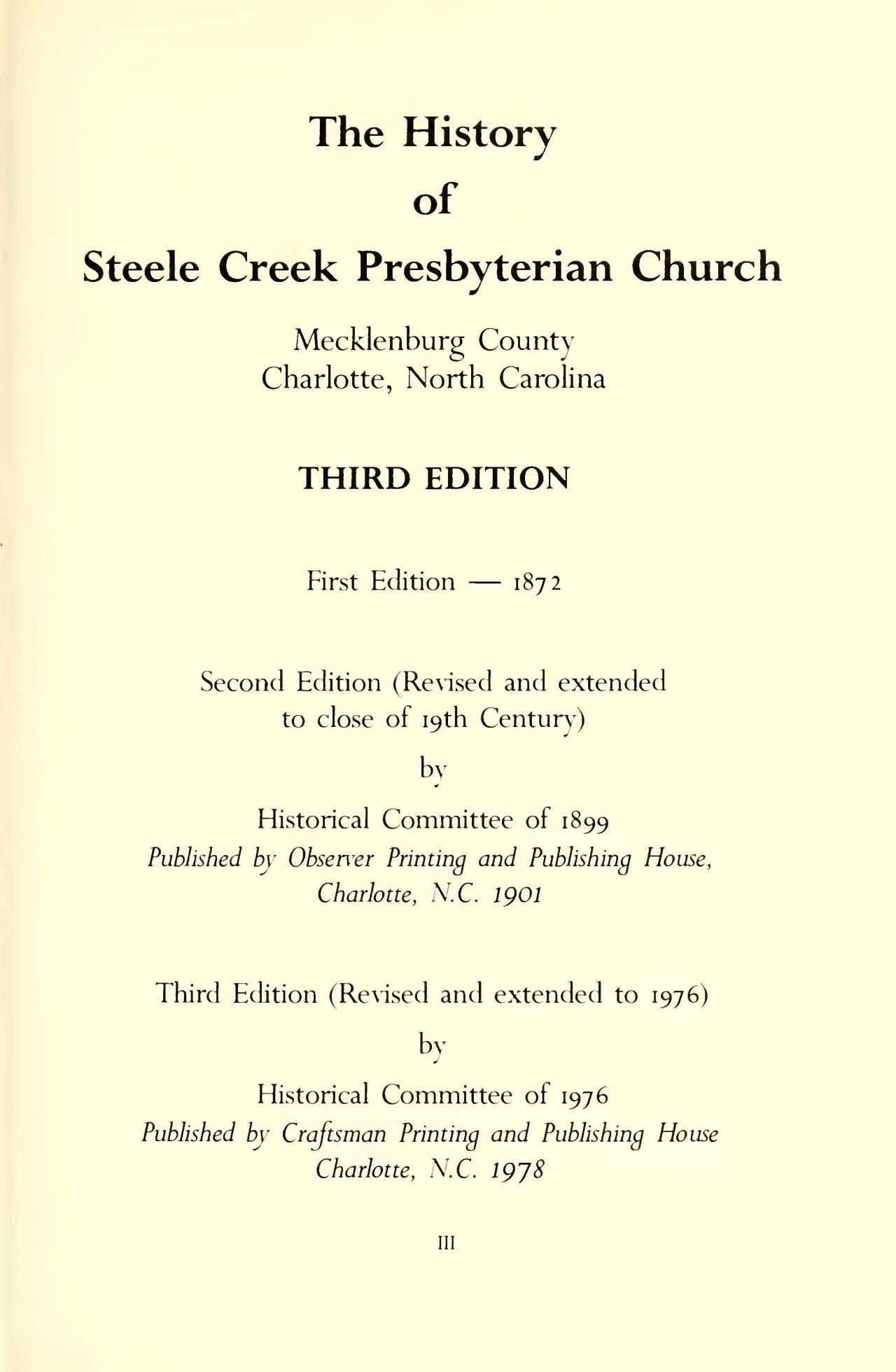 Douglas, John, The History of the Steele Creek Presbyterian Church Title Page.jpg