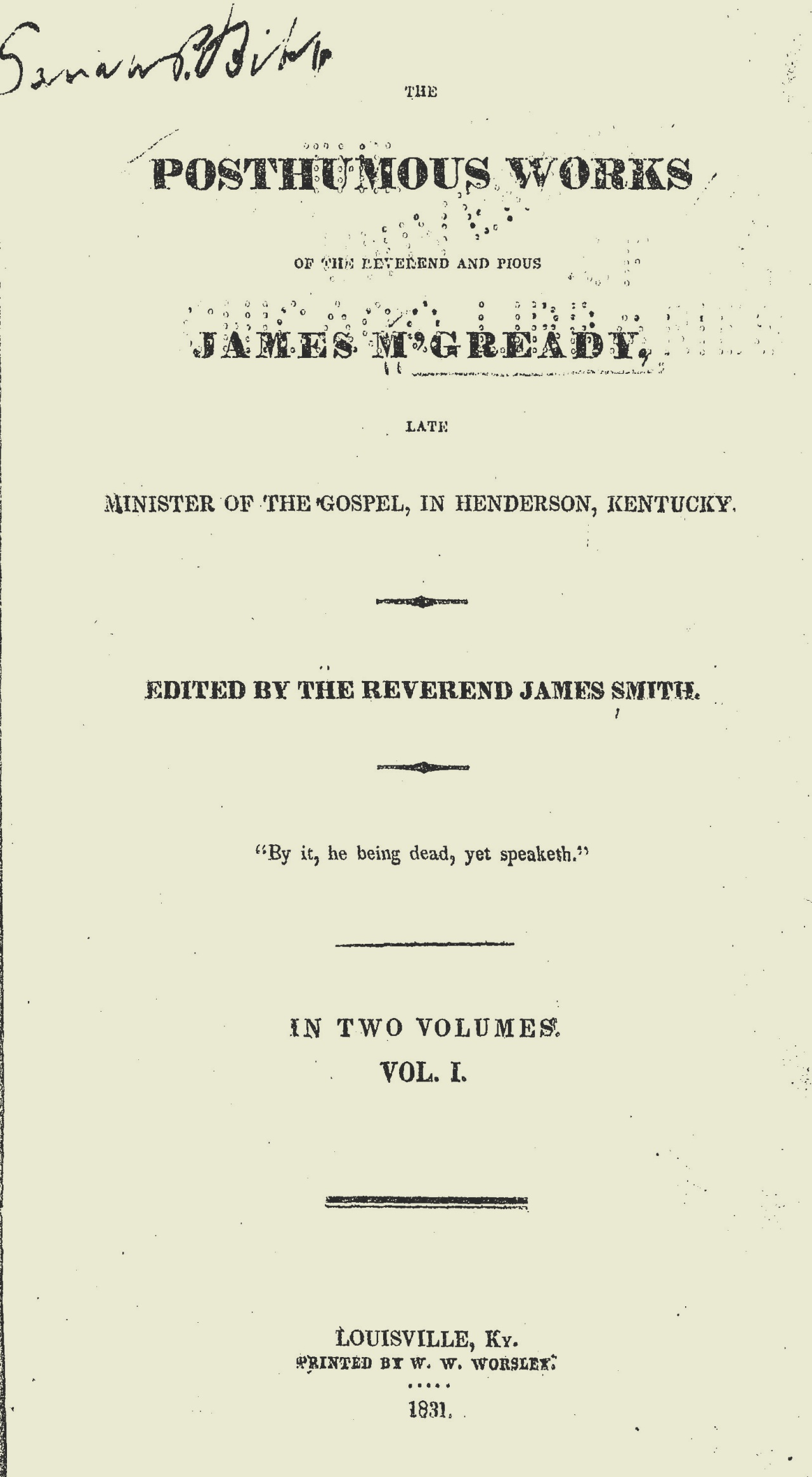 McGready, James, The Posthumous Works of the Reverend and Pious James M'Gready Title Page.jpg