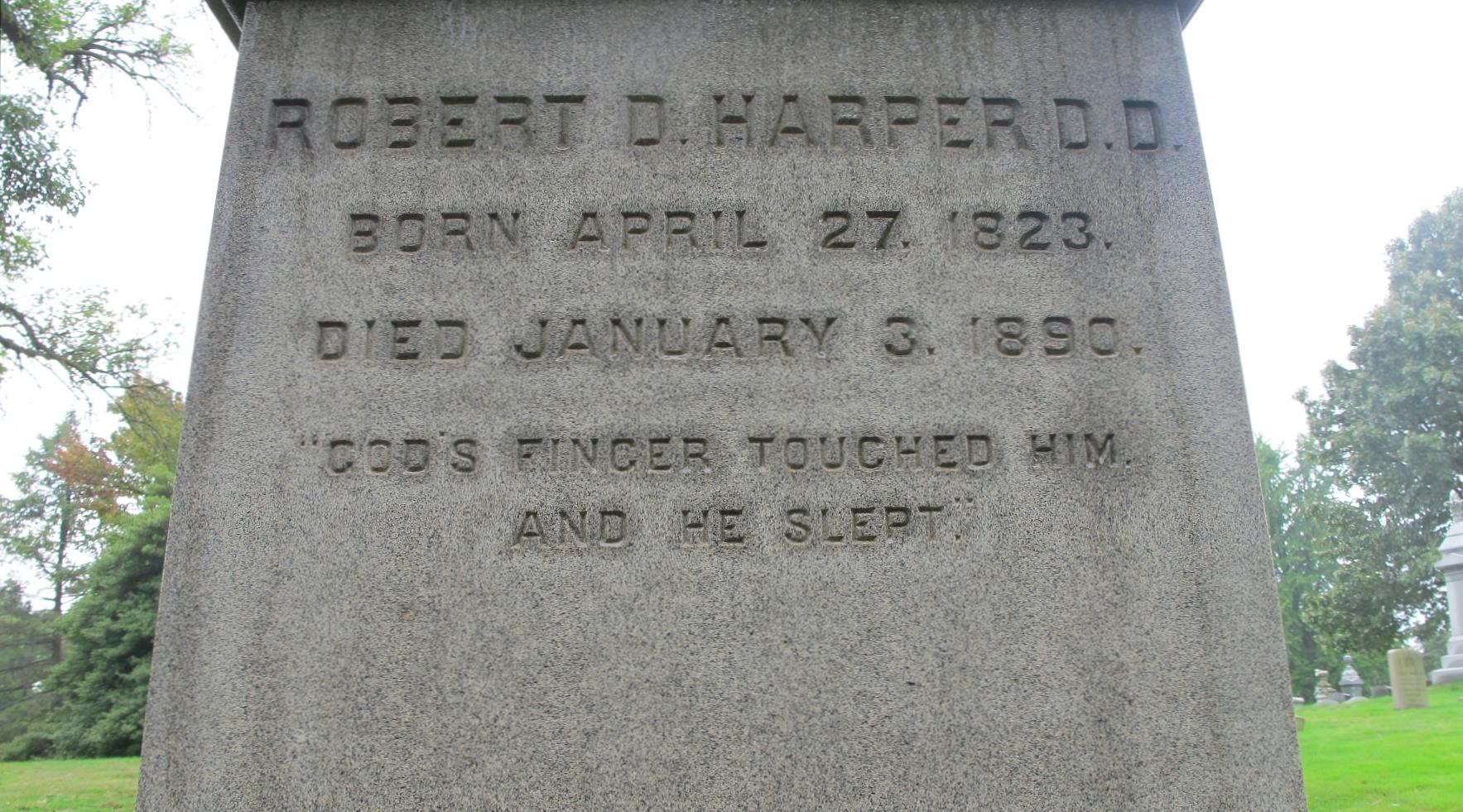 Robert David Harper is buried at West Laurel Hill Cemetery, Bala Cynwyd, Pennsylvania.