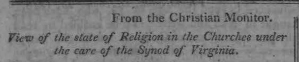 Rice, John Holt, View of the State of Religion in the Churches Under the Care of the Synod of Virginia Title Page.jpg