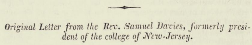 Davies, Samuel, 1751 Letter Title Page.jpg