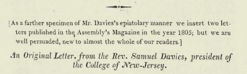 Davies, Samuel, Undated Letter Title Page.jpg