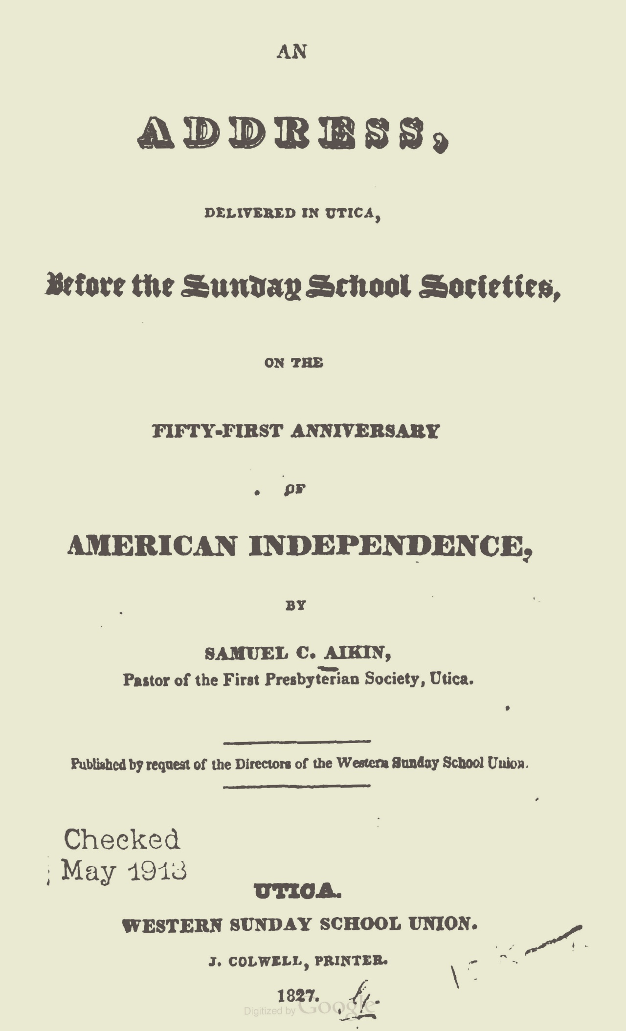 Aiken, Samuel Clark, An Address on the Anniversary of American Independence Title Page.jpg