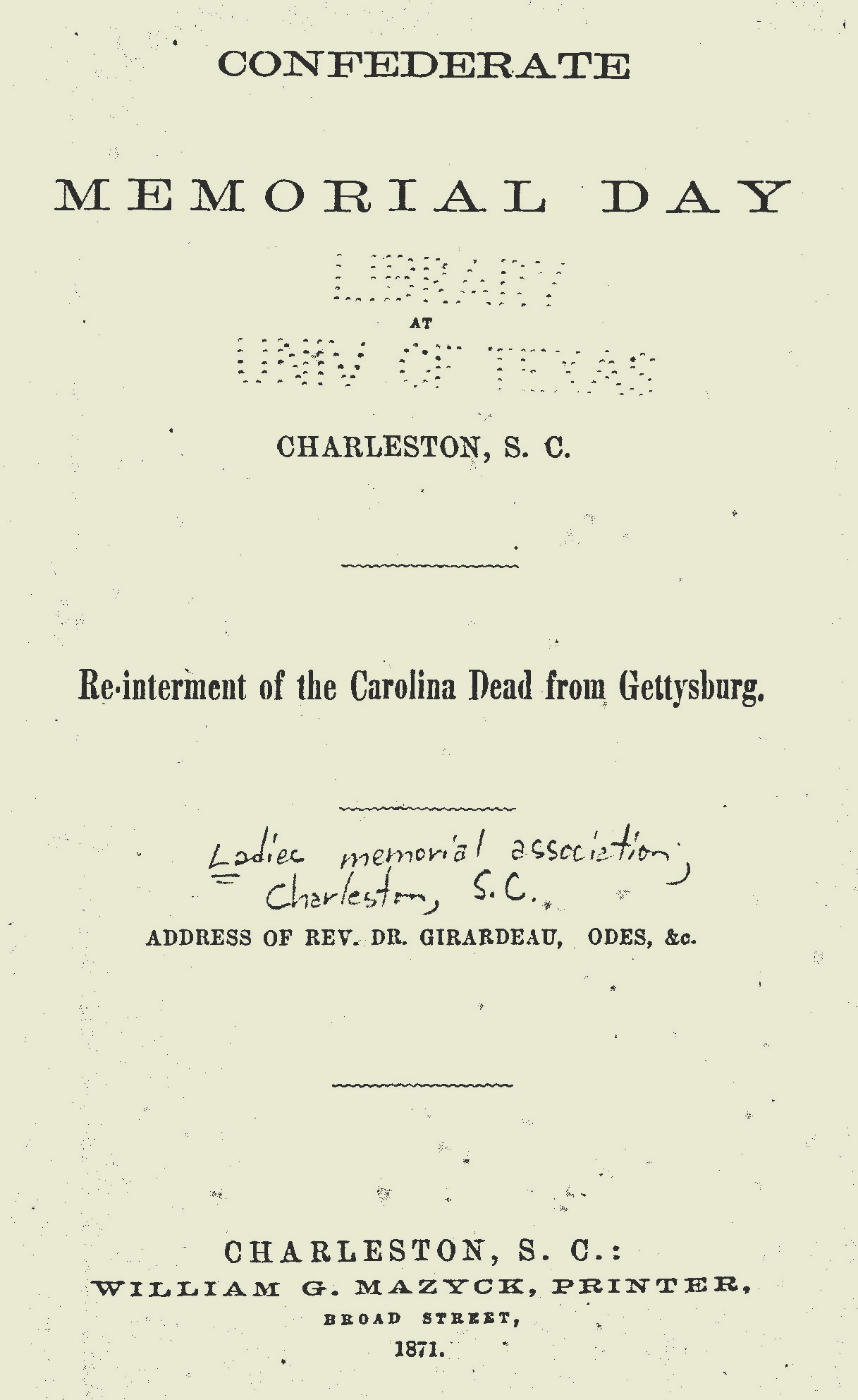 Girardeau, John Lafayette, Confederate Memorial Day Title Page.jpg
