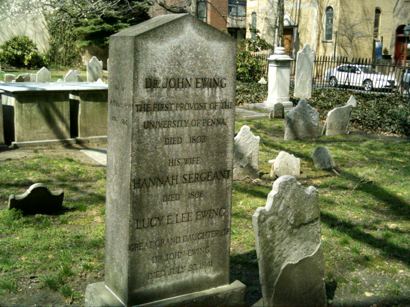 John Ewing is buried at the Old Pine Street Presbyterian Church Cemetery, Philadelphia, Pennsylvania.