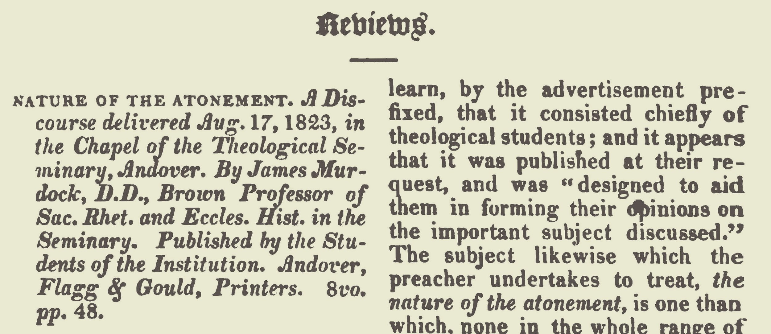 This review is a 3-part article which was published in the February, March and April 1824 issues of  The Christian Advocate .