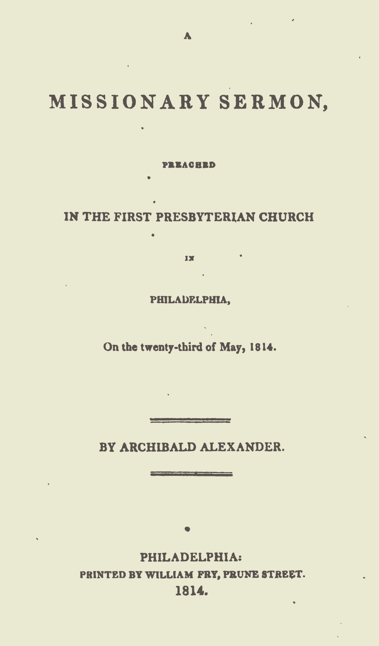 Alexander, Archibald, A Missionary Sermon Title Page.jpg