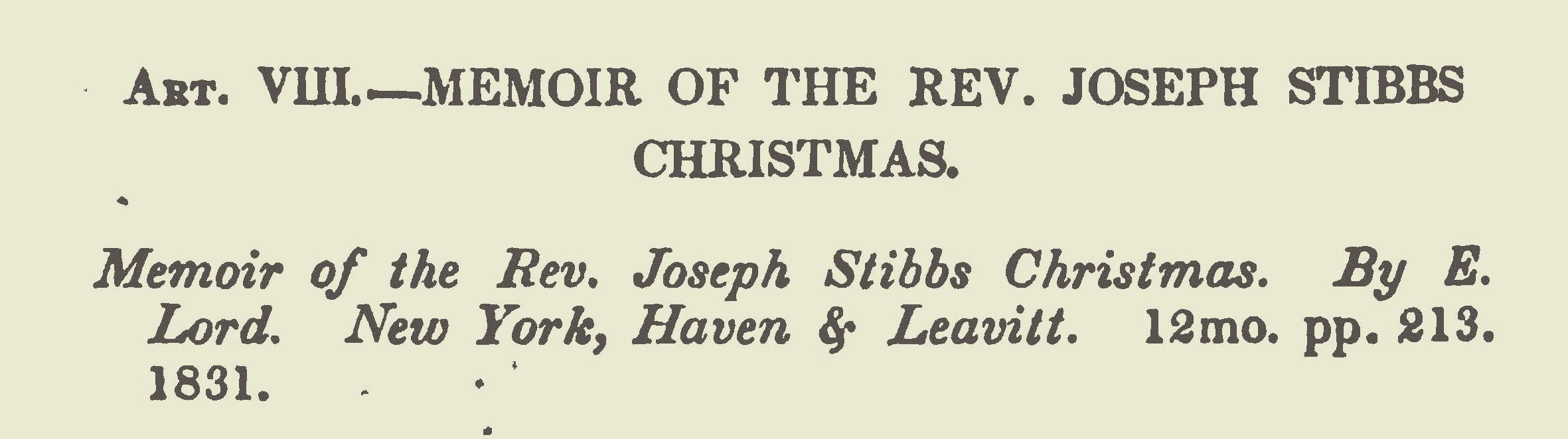 Miller, Samuel, Review of the Memoir of the Rev. Joseph Stibbs Christmas Title Page.jpg
