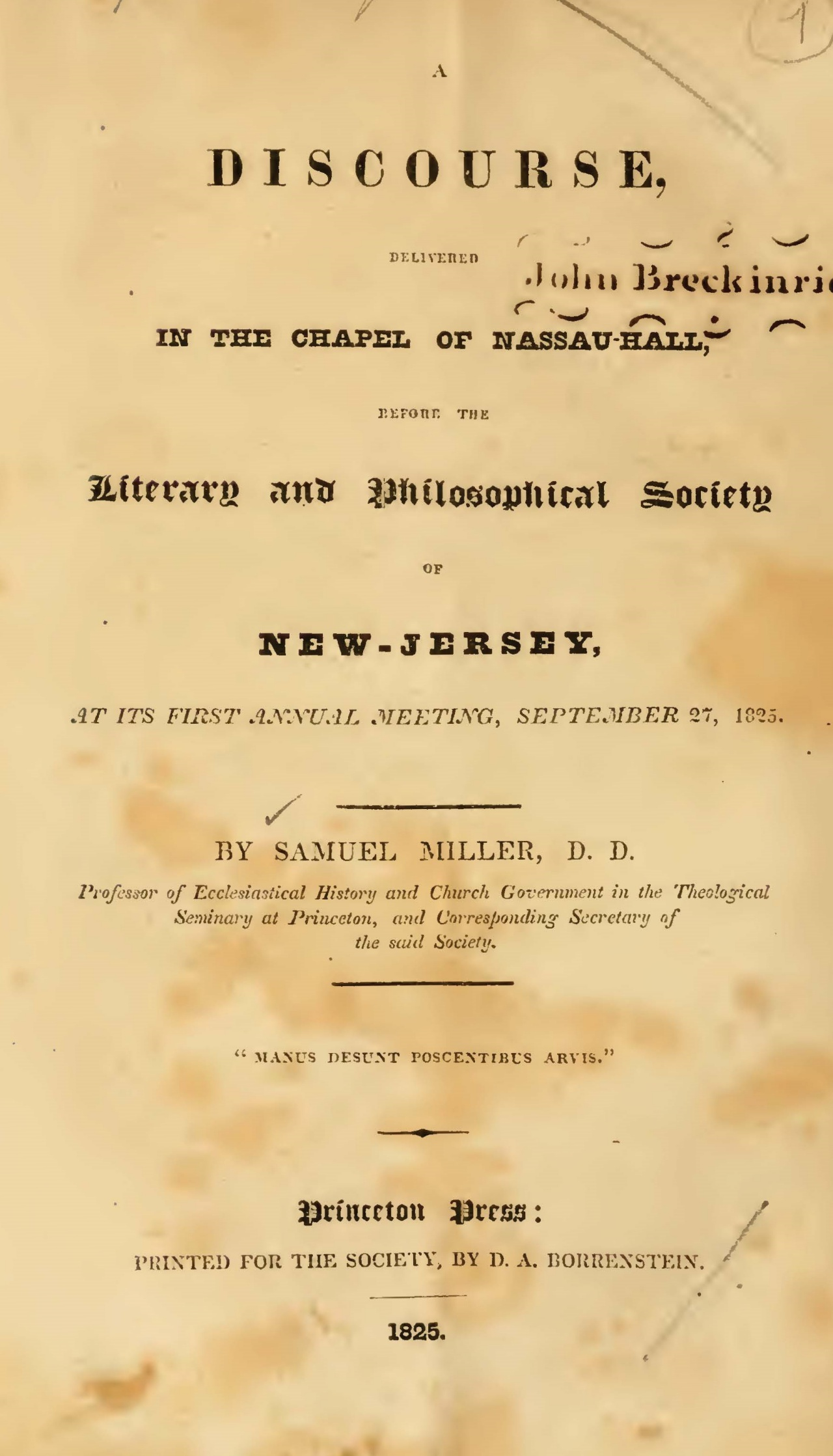 Miller, Samuel, A Discourse, Delivered in the Chapel of Nassau-Hall 1825 Title Page.jpg