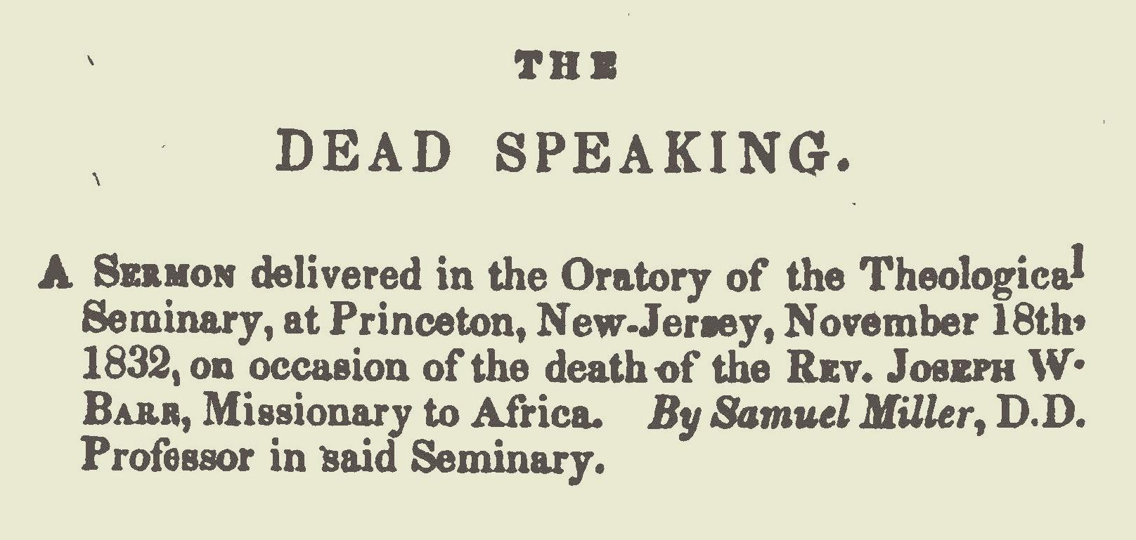 Miller, Samuel, The Dead Speaking Title Page.jpg