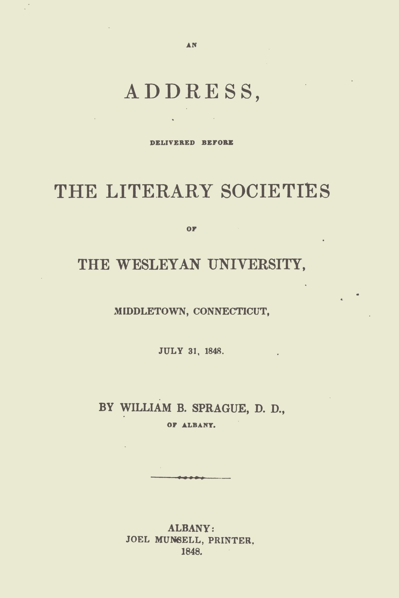 Sprague, William Buell, An Address Delivered Before the Literary Societies re William Wilberforce Title Page.jpg