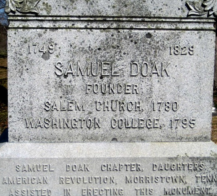 Samuel Doak is buried at Salem Cemetery, Limestone, Tennessee.
