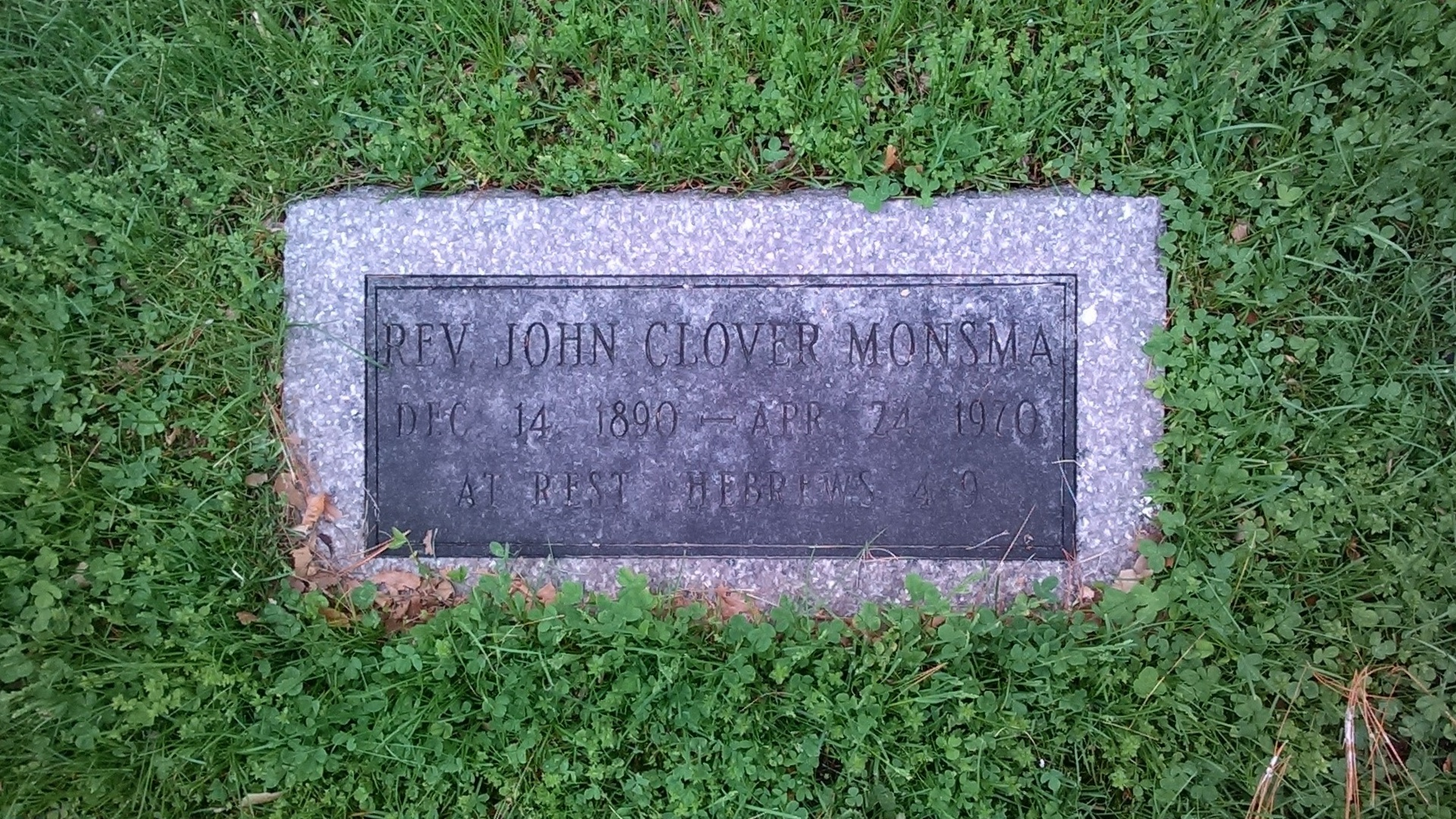 John Clover Monsma is buried at Woodlawn Cemetery, Grand Rapids, Michigan.