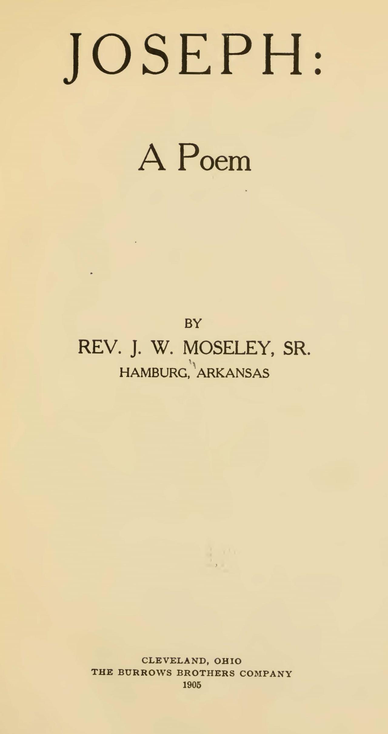 Moseley, Sr., John Watkins, Joseph A Poem Title Page.jpg
