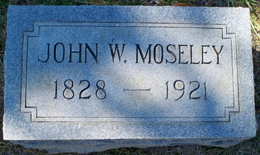 John Watkins Moseley, Sr. is buried at Roseland Park Cemetery, Hattiesburg, Mississippi.