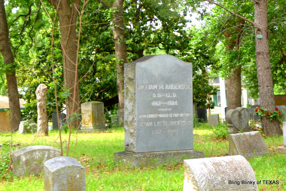 William Madison Anderson is buried at Oakland Cemetery, Dallas, Texas.