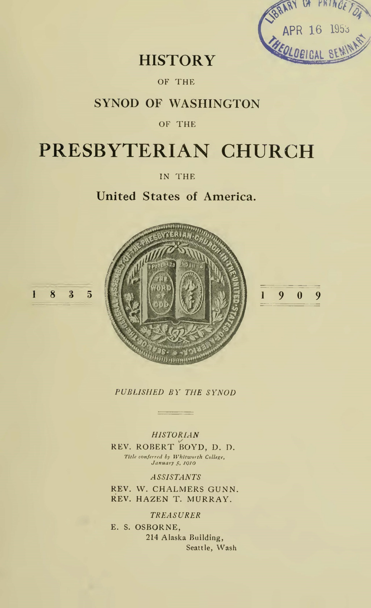 Boyd, Robert, History of the Synod of Washington Title Page.jpg