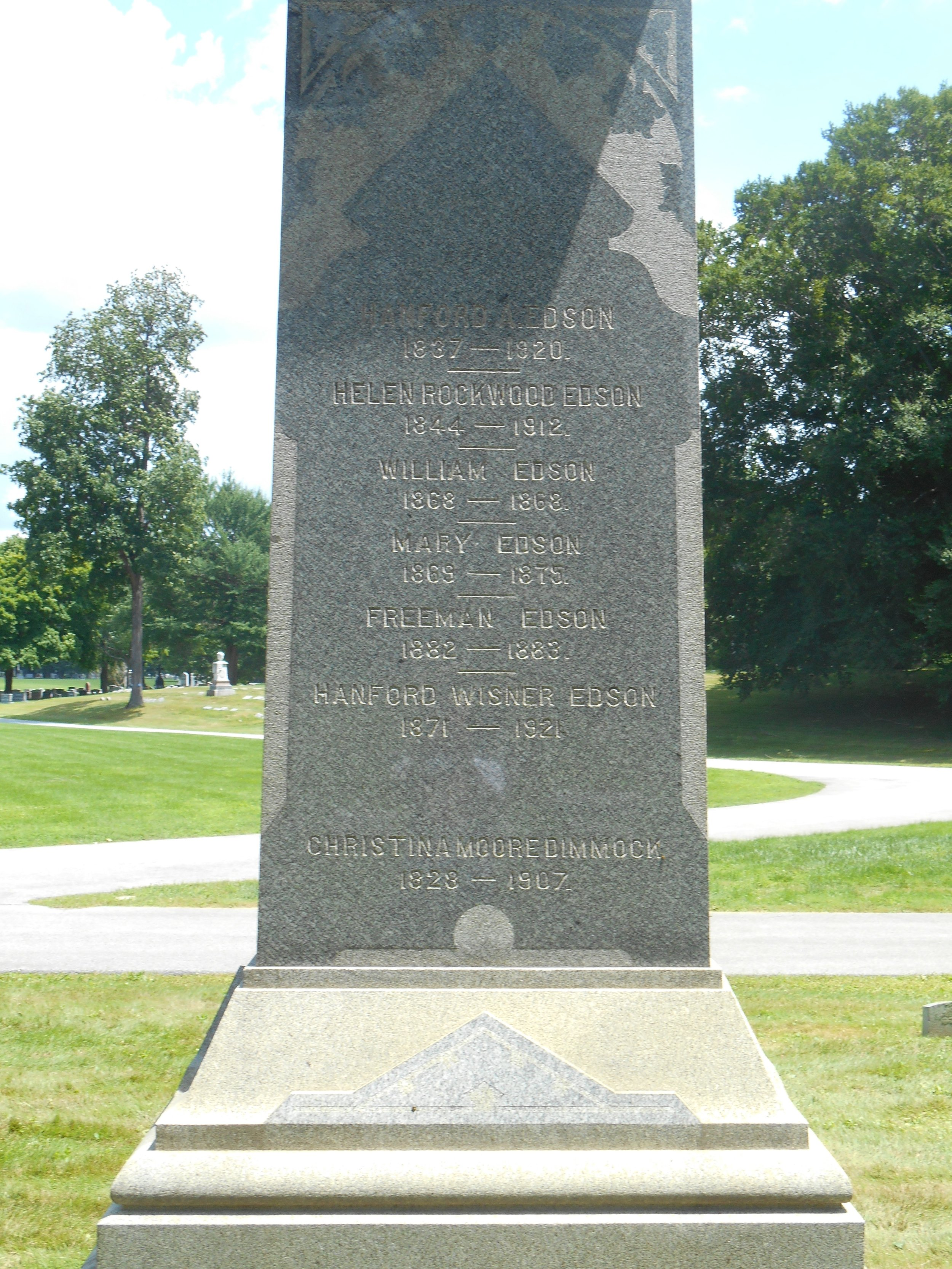Hanford Abram Edson is buried at Crown Hill Cemetery, Indianapolis, Indiana.