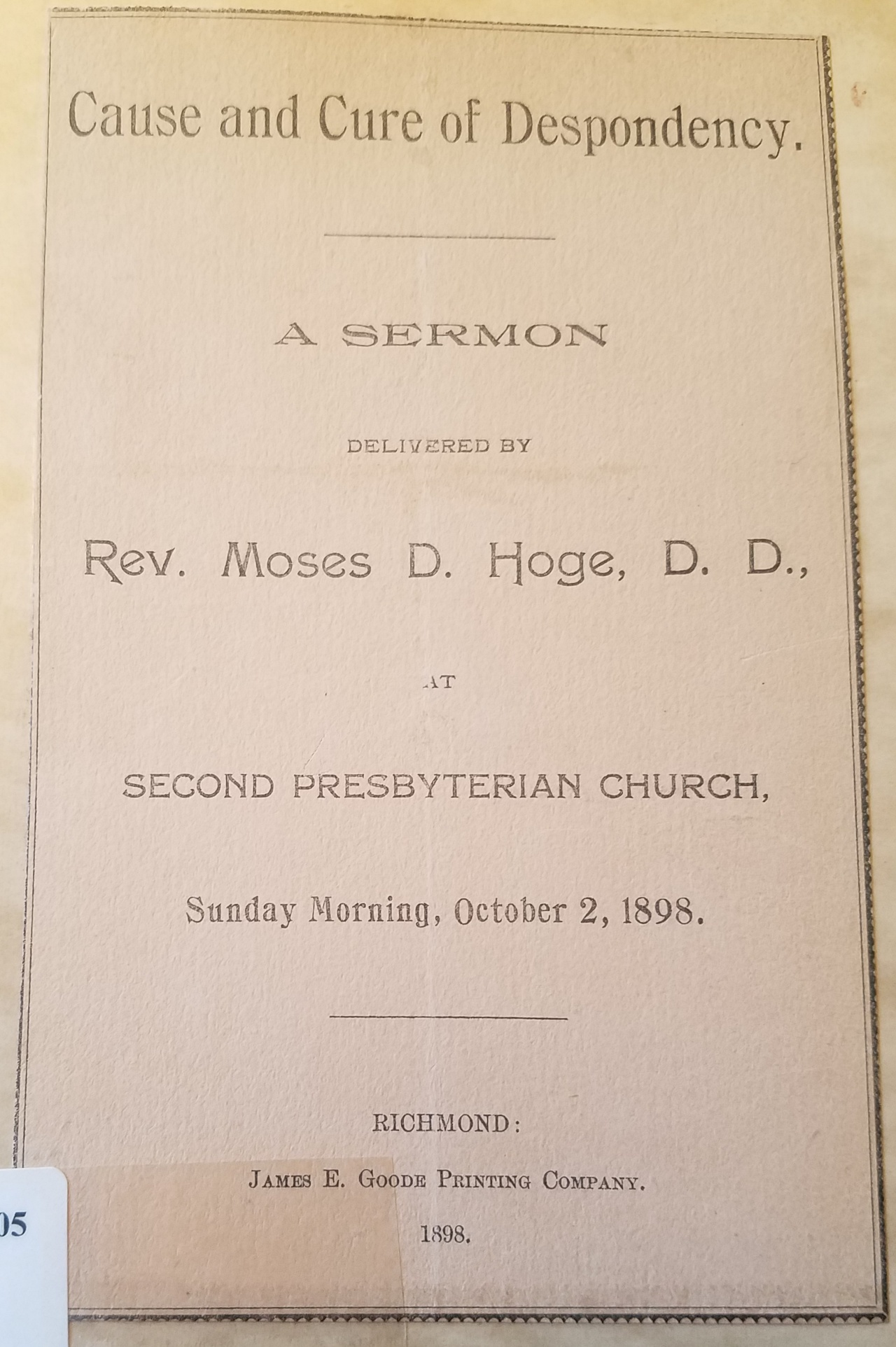 Moses Drury Hoge (1818-1899) — Log College Press