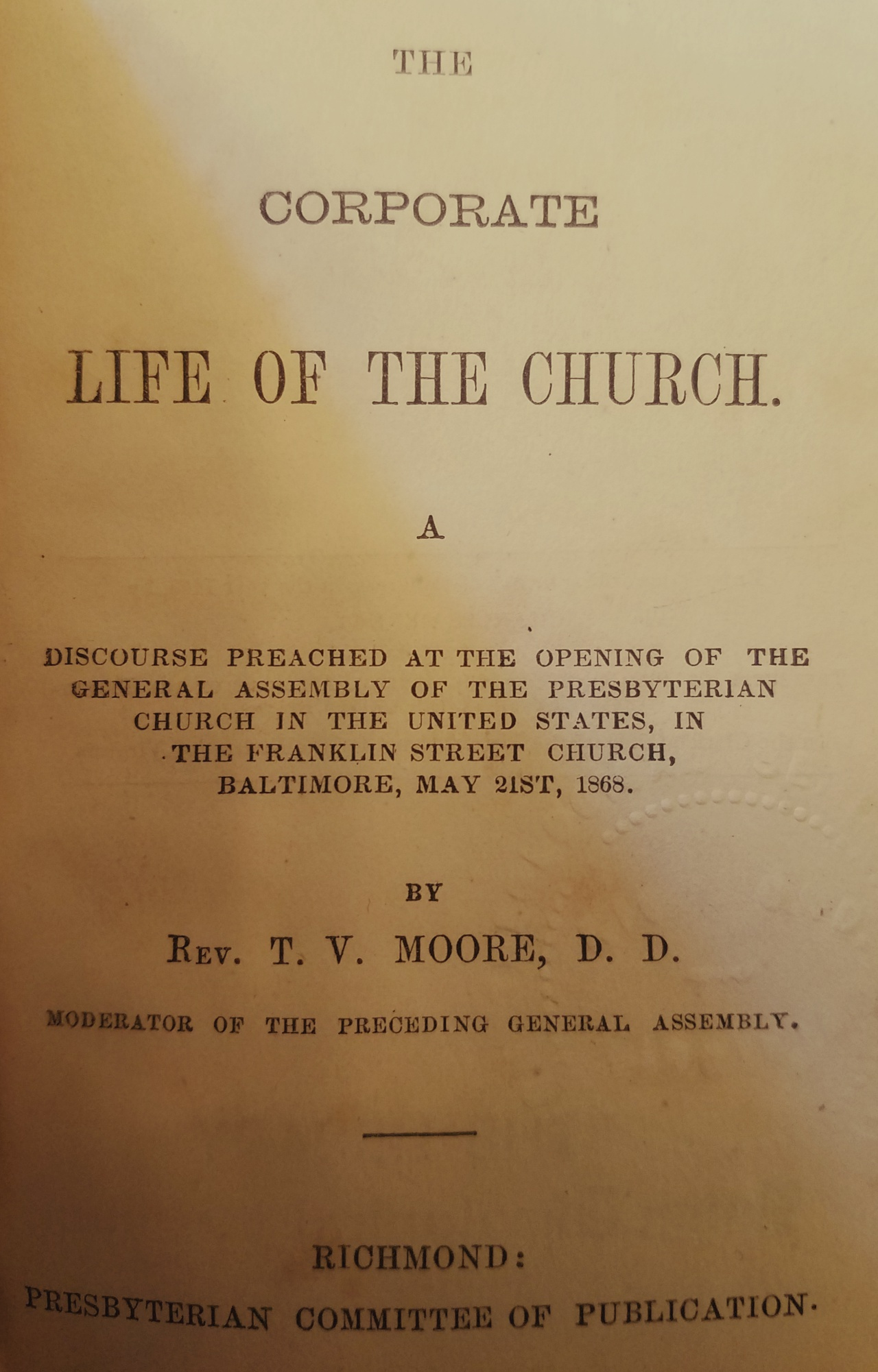 Moore, Thomas Verner, The Corporate Life of the Church Title Page.jpg