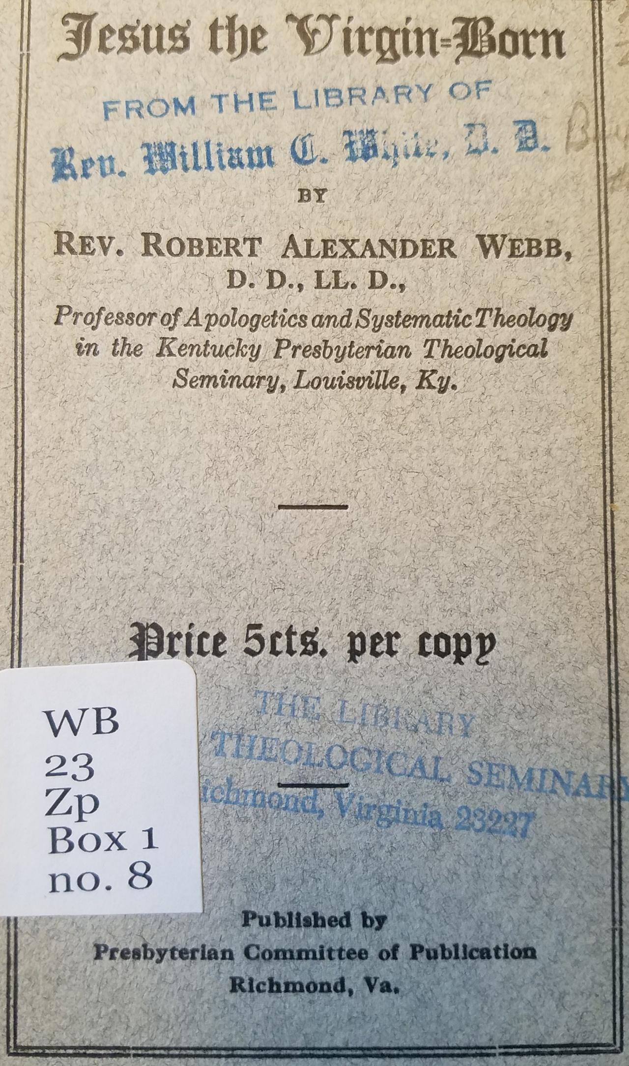Webb, Robert Alexander, Jesus the Virgin-Born Title Page.jpg