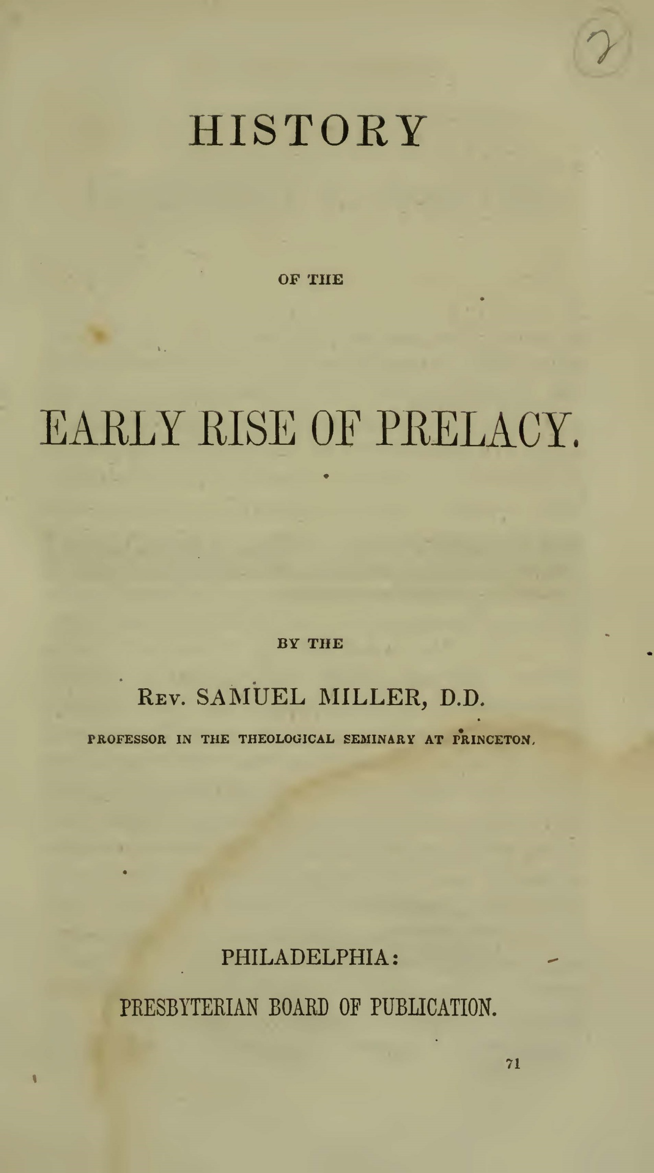 Miller, Samuel, History of the Early Rise of Prelacy Title Page.jpg