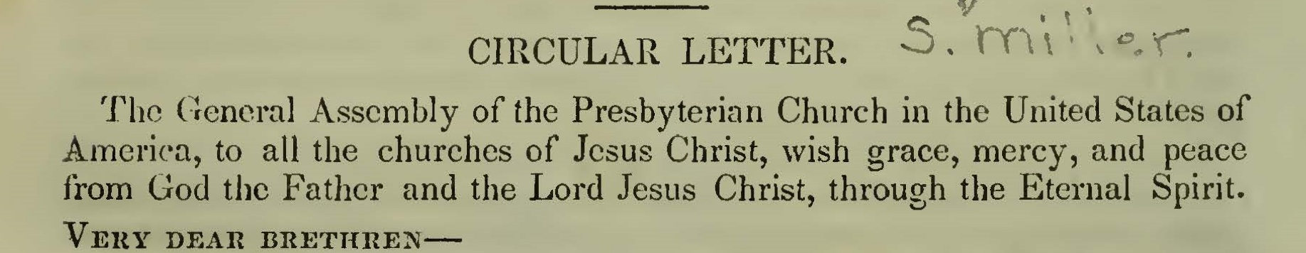 Miller, Samuel, Circular Letter to the Churches of Christ Title Page.jpg