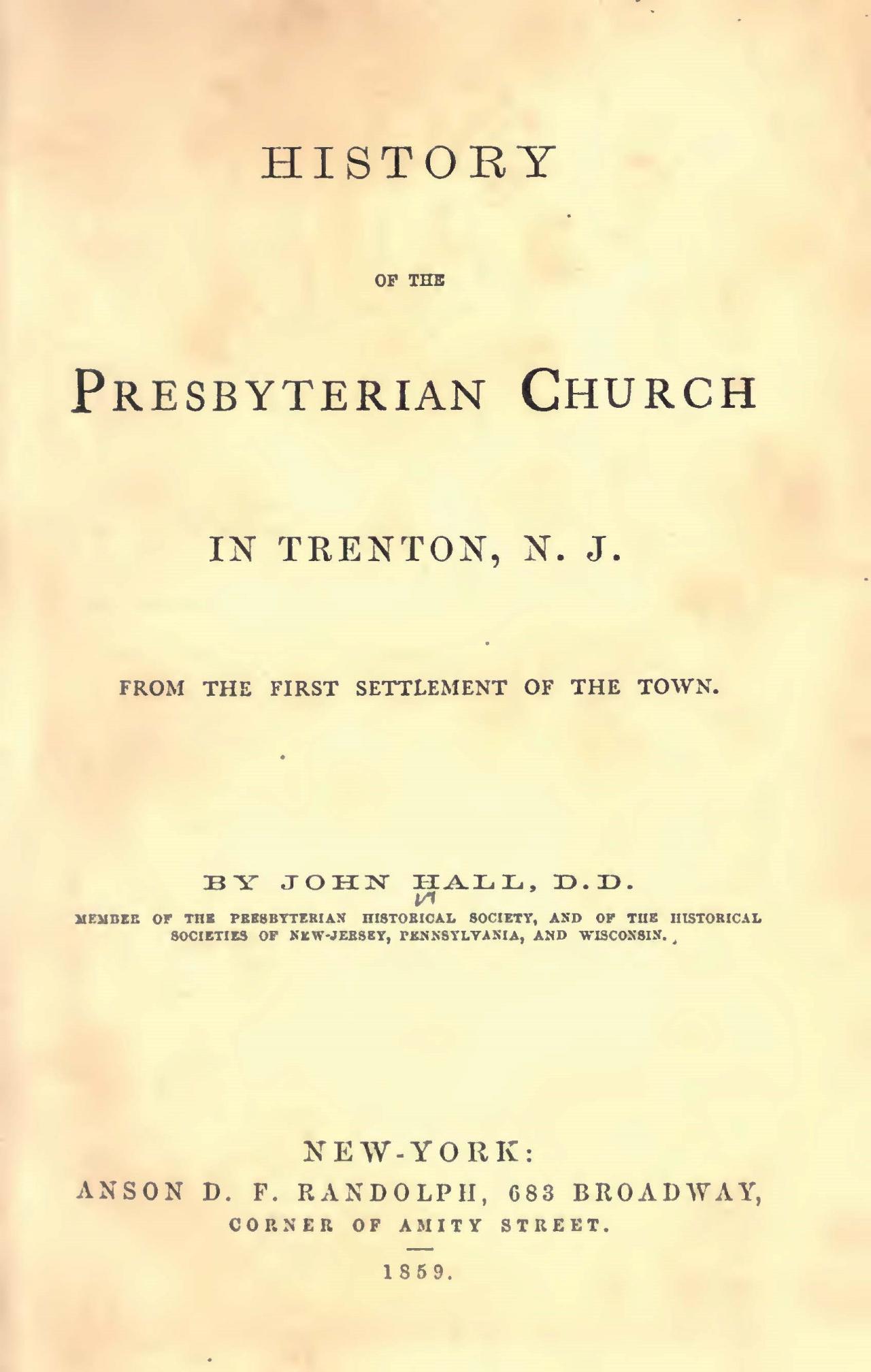 Hall, John, History of the Presbyterian Church in Trenton, N.J. Title Page.jpg