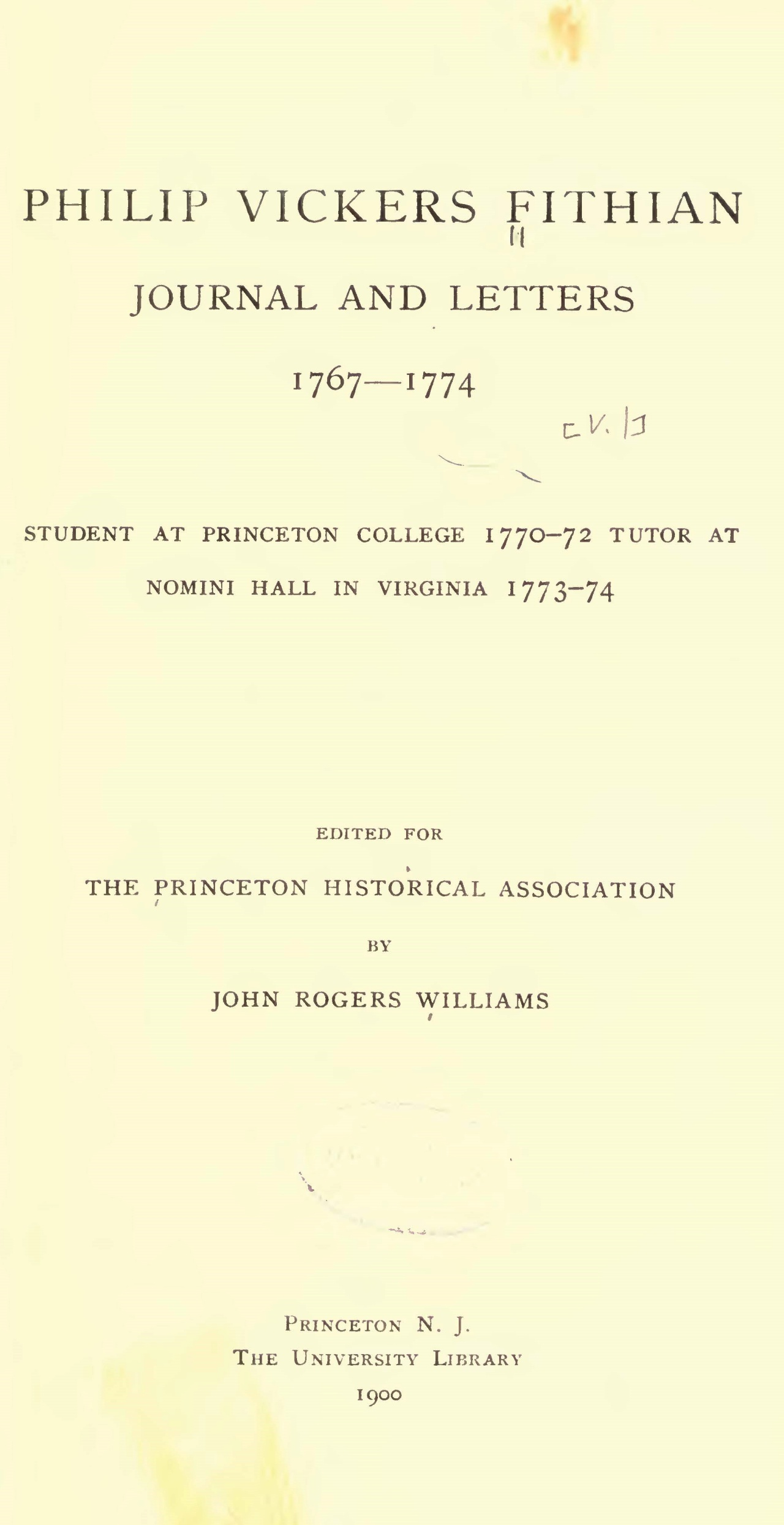 Fithian, Philip Vickers, Journal and Letters Title Page.jpg