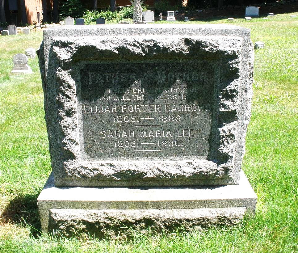 Elijah Porter Barrows is buried at Phillips Academy Cemetery, Andover, Massachusetts.