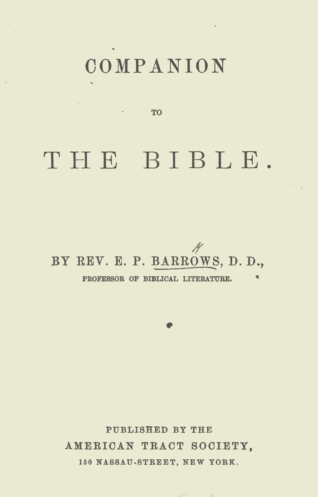 Barrows, Elijah Porter, Companion to the Bible Title Page.jpg