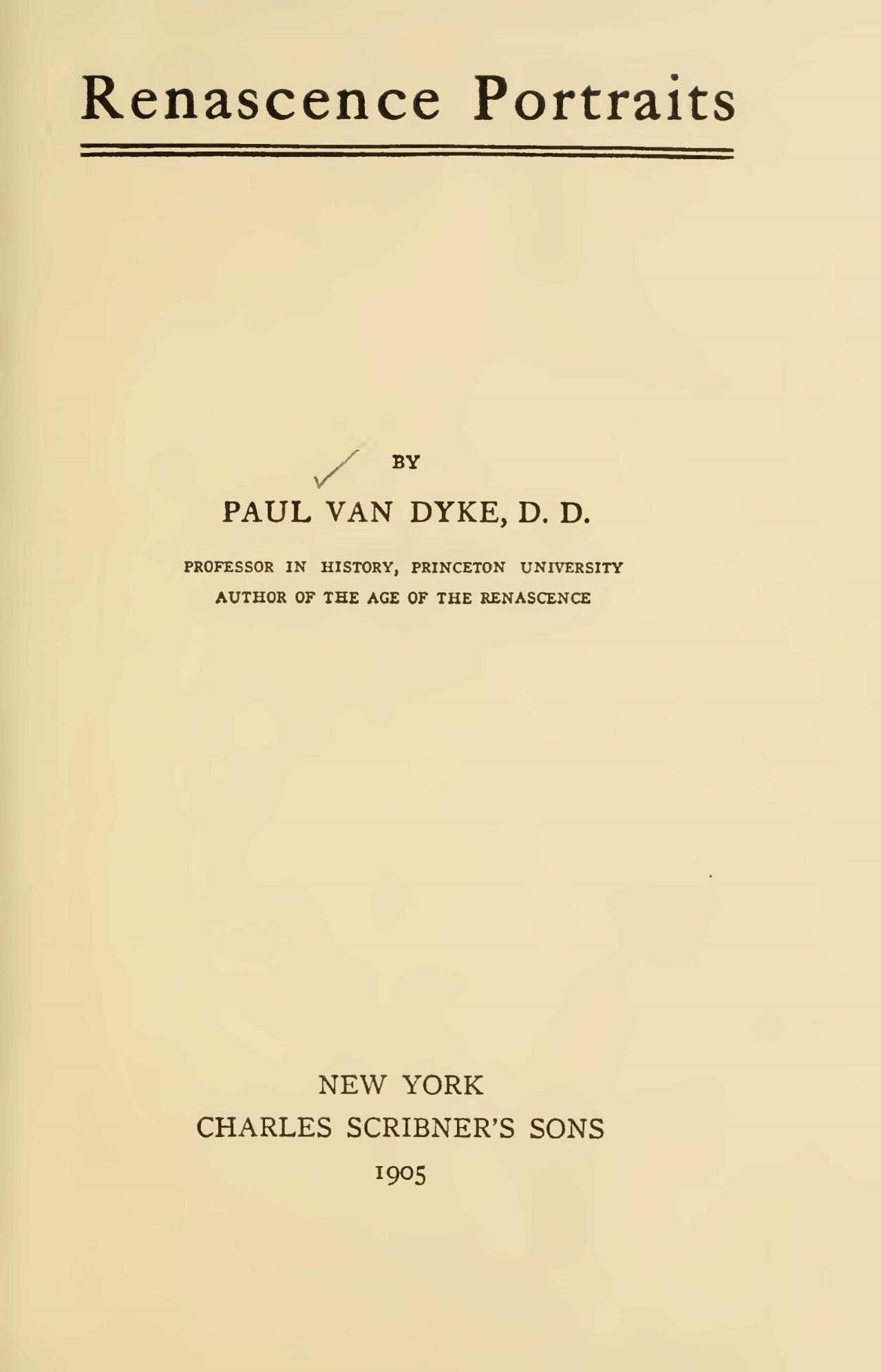 Van Dyke, Paul, Renascence Portraits Title Page.jpg