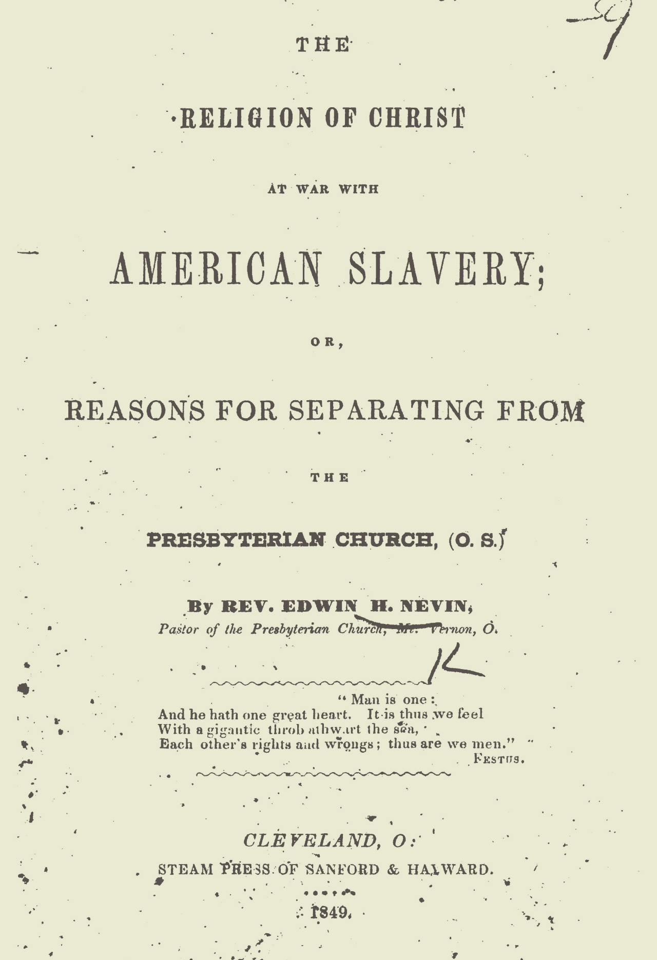 Nevin, Edwin Henry, The Religion of Christ at War With American Slavery Title Page.jpg