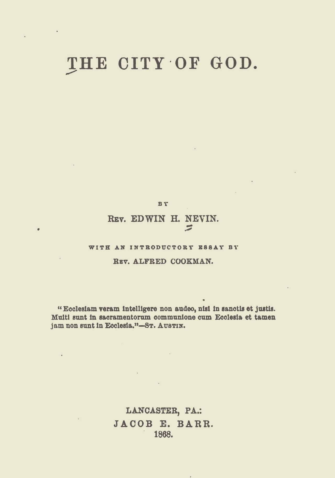 Nevin, Edwin Henry, The City of God Title Page.jpg