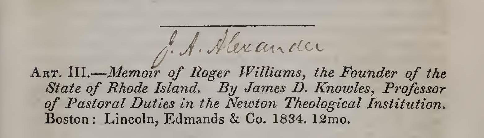 Alexander, Joseph Addison, Memoir of Roger Williams Title Page.jpg