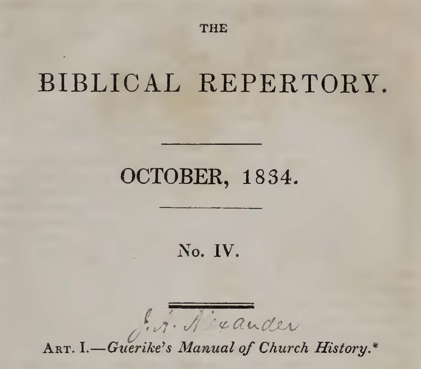 Alexander, Joseph Addison, Guerike's Manual of Church History Title Page.jpg