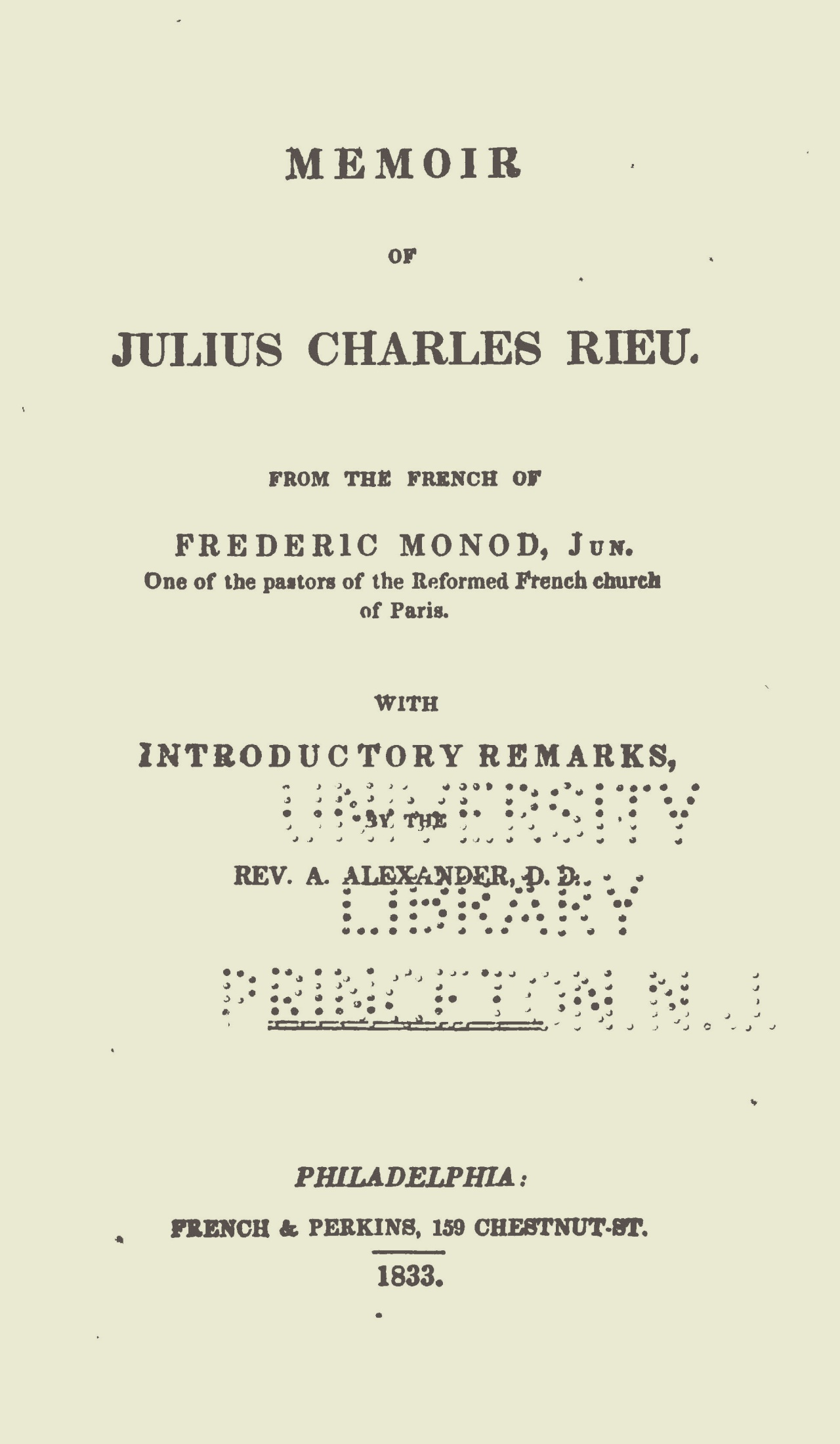 Alexander, Archibald, Introductory Remarks to Memoir of Julius Charles Rieu Title Page.jpg