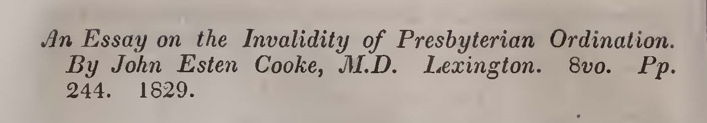 Miller, Samuel, Review of Cooke's Essay on the Invalidity of Presbyterian Ordination Title Page.jpg