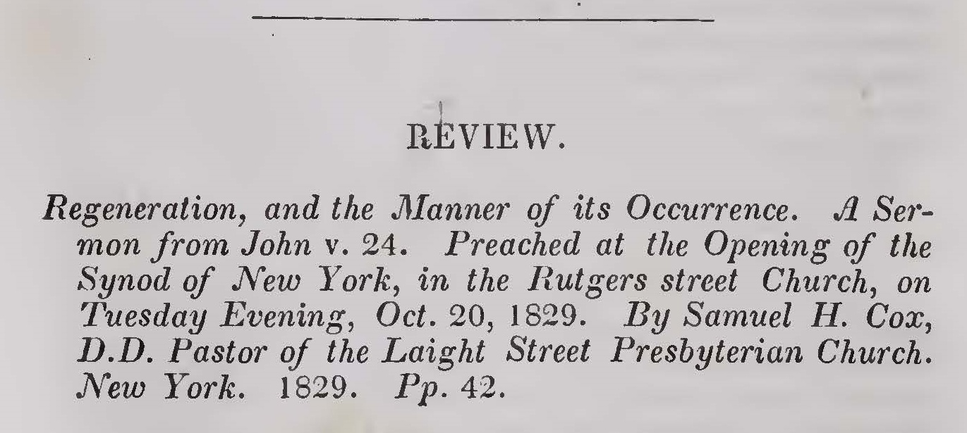 Hodge, Charles, Regeneration, and the Manner of Its Occurrence Title Page.jpg