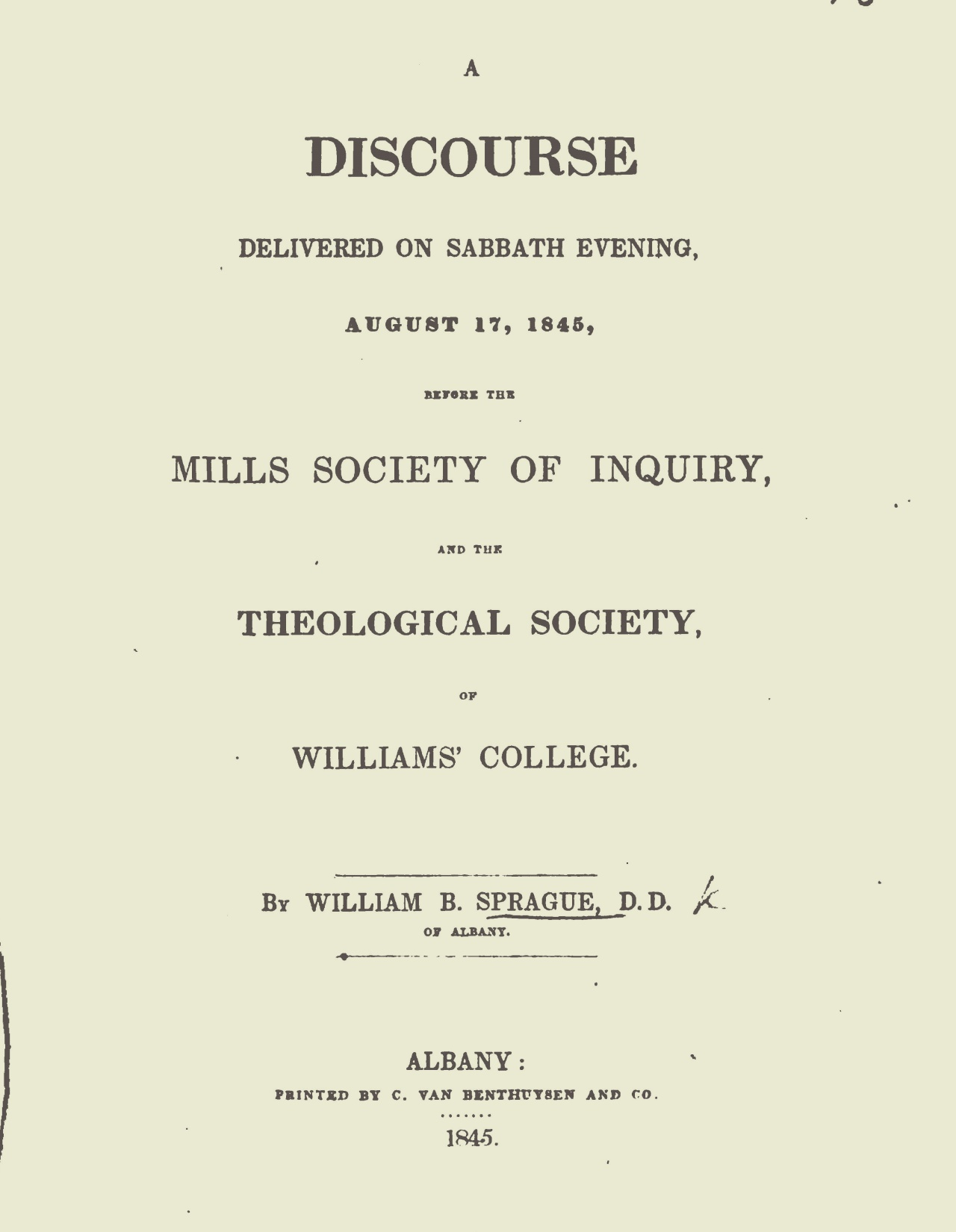 Sprague, William Buell, A Discourse Delivered Before the Mills Society of Inquiry Title Page.jpg