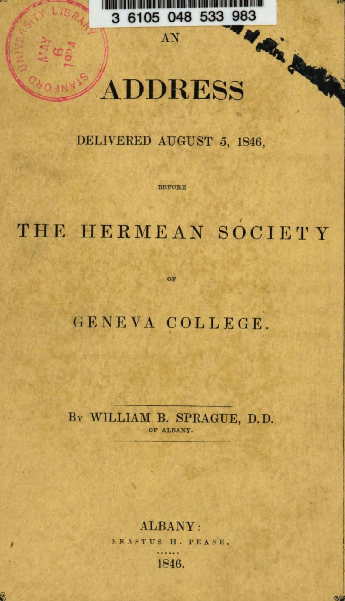 Sprague, William Buell, An Address Delivered Before the Hermean Society of Geneva College Title Page.jpg